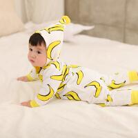 婴儿连体衣服03个月宝宝棉新生儿冬装春季哈衣外出服1岁