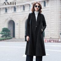 【券后秒杀80元】Amii[极简主义]冬V领长袖羊毛呢子大码长款毛呢外套11571727