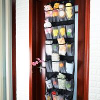 墙上门后壁挂式铁艺拖鞋架 创意门后鞋架墙上多层壁挂式牛津布24格收纳袋挂袋挂门鞋架