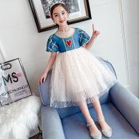 女童白雪公主裙夏装中大童洋气女孩泡泡袖网纱连衣裙