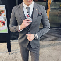 英伦潮流西服套装男韩版修身结婚礼服商务休闲KTV少爷西装三件套