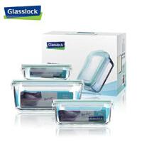 韩国三光云彩GLASSLOCK钢化玻璃保鲜盒微波炉饭盒保鲜盒三件套装饭盒GL05-3ABC