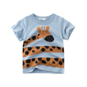 儿童T恤 男童圆领半袖动物可爱卡通上衣汗衫2019欧美风夏季新款韩版中小童短袖打底衫