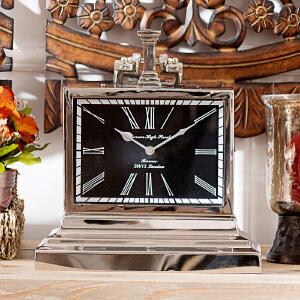 奇居良品 印度进口客厅书房卧室装饰台钟表摆件 加里方形金属座钟