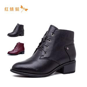 红蜻蜓女靴2018新款冬季系带短靴