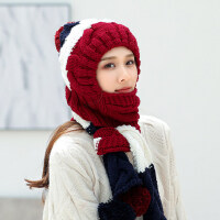 韩国保暖潮冬女式时尚连围巾针织毛线帽子女日系可爱护耳