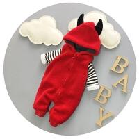 婴儿衣服冬季男女宝宝连体衣秋冬加厚背带裤外出服0-3-6-9个月潮