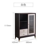 美式轻奢后现代实木酒柜组合客厅边柜双门装饰柜储物展示柜 单门