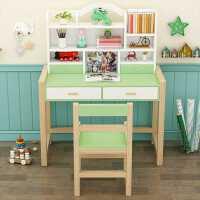 【满减优惠】儿童实木学习桌写字台多功能白色升降桌椅家用男孩女孩书桌椅组合