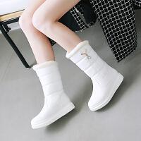 韩版秋冬毛靴白色女童靴子水钻绒棉靴公主大童鞋女中筒靴
