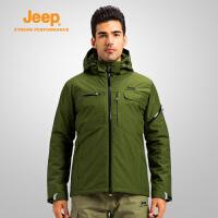 【特惠直降】Jeep/吉普 男士秋冬户外连帽夹克大码纯色户外宽松滑雪服J652010680