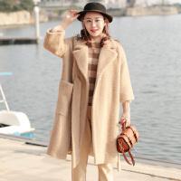 秋冬毛呢大衣女2018韩版新款时尚修身百搭西装领口袋系带纯色中长款呢子外套
