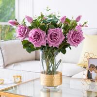 奇居良品手感保湿玫瑰花仿真花配金箔玻璃花瓶客厅餐桌装饰花艺