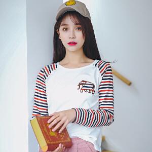 薄款长袖女t恤宽松拼接条纹韩版学生百搭打底衫秋装新款上衣