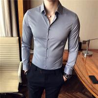 男士纯色长袖衬衫韩版修身商务休闲衬衣青年发型师白寸衣