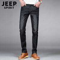 JEEP吉普牛仔长裤男修身薄款直筒裤男士经典黑色牛仔裤水洗磨白休闲宽松裤子