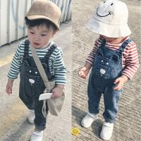 婴儿套装春秋季男女宝宝上衣+牛仔背带裤01-2岁春装3-6-9-12个月