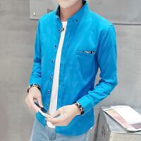 春秋男士衬衫长袖韩版修身青少年学生帅气寸衣