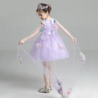 女童蓬蓬纱公主裙夏季花童礼服婚纱淡紫色儿童演出服