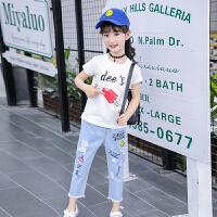 2018新款时髦套装中大童洋气韩版潮衣儿童装牛仔裤两件套女童夏装