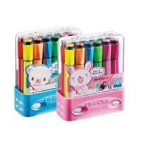 爱好12色 带印章水彩笔粗杆粗头可水洗涂鸦笔画笔