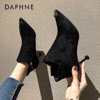达芙妮2020秋冬季新款尖头细跟裸靴小跟女靴子马丁短靴女猫跟女鞋