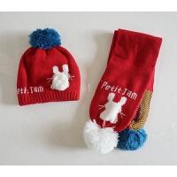 出口韩国女童婴儿帽 毛线针织帽子围巾套装 织出来小兔胡萝卜好萌
