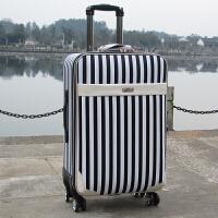 行李箱万向轮旅行箱登机箱20寸男女密码箱学生皮箱子拉杆箱 515黑白条纹 20寸