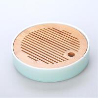 陶瓷日式功夫茶具家用茶盘圆形大号竹制迷你储水茶海干泡台