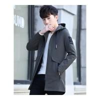 薄款外套男春季新款韩版潮流修身帅气中长款风衣男士连帽衣服春装