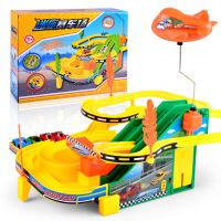 儿童益智轨道车 电动音乐轨道赛车 DIY拼装停车场汽车玩具
