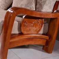 橡木实木沙发现代中式转角布艺贵妃客厅多功能组合带拉床L型7型