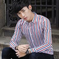 秋装红蓝条纹长袖衬衫村杉忖寸衫男士衬衣韩版修身酒店咖啡厅工装