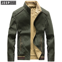Jeep吉普正品双面纯棉夹克男装立领外套内外可穿秋冬男款休闲款上衣舒适百搭外套