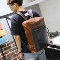 男款疯马皮双肩包韩版潮流书包复古旅行电脑包包 男士双肩背包 咖啡色 全场满2件送手包