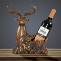 好家饰 客厅酒柜摆件装饰品 创意红酒架工艺品 招财大象家居摆设 鹿头葡萄酒架 红木色 高约33厘米摆件