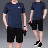 男短袖短裤时尚商务休闲套装男薄款两件套T恤圆领跑步服