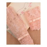 女式防晒手套 短款 女士开车自行电瓶车防晒蕾丝袖套 陌上花开—藕粉色 均码