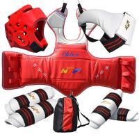 跆拳道护具六件套 儿童刺绣护具全套 男比赛加厚套装护具包 刺绣护具6件套系带款红色