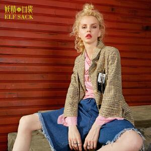 【尾品汇大促】妖精的口袋少女哲学家秋装新款宽松复古格纹西装短外套女