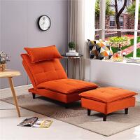 懒人沙发单人卧室折叠靠背椅小户型客厅榻榻米阳台休闲躺椅 桔红色 带脚踏