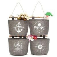 储物袋 收纳袋海军风挂式棉麻收纳挂袋组合式船锚船舵储物袋