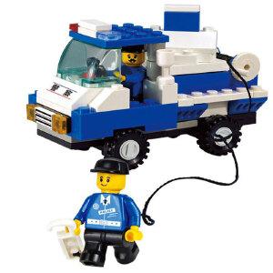 【当当自营】小鲁班模拟城市系列儿童益智拼装积木玩具 城市警察-路障车M38-B900