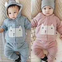 新生儿衣服加厚冬季宝宝加绒套装0-1岁初生婴儿婴儿纯棉外出2件套