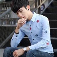 2017秋季新款男士牛津纺印花长袖衬衣韩版修身青年商务男工装衬衫