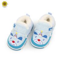 户外运动软底鞋子宝宝卡通学步鞋男女童加绒保暖鞋儿童防滑棉鞋