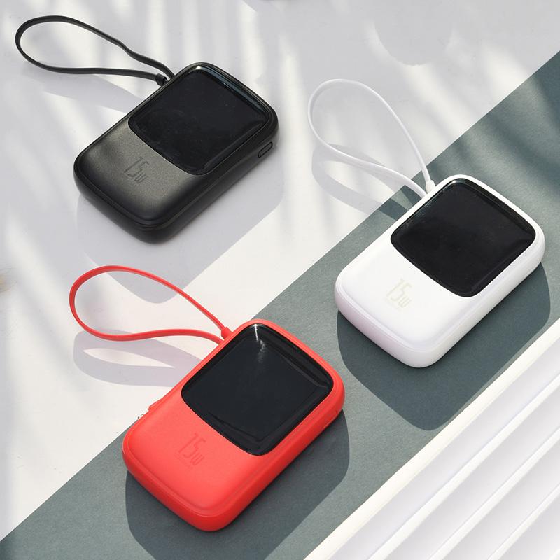 【自带挂绳+数据线】倍思 充电宝小巧便携自带线10000毫安苹果iphone11移动电源一万大容量数显pd快充充电宝oppo小米通用 挂绳+数据线二合一