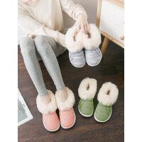 韩版女防水防滑居家棉鞋 情侣毛毛拖鞋男大码厚底包跟保暖棉拖鞋