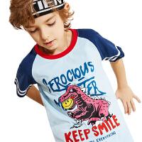【2件3折:40.5元】小虎宝儿童装男童2021儿童纯棉短袖恐龙t恤夏季新装透气圆领男童韩版体恤