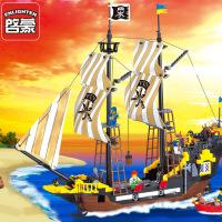 启蒙积木儿童玩具小颗粒拼装模型儿童益智玩具海盗系列冒险号307